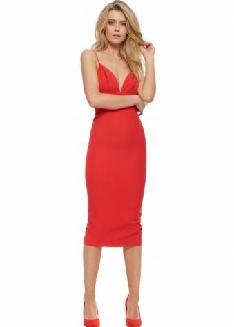 Sonja Red Backless Ruffle Back Midi Dress