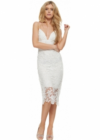 Sicily White Lace Strappy Evening Midi Dress