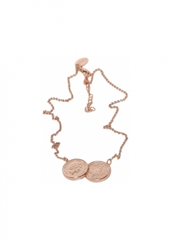 Sparkling Jewellery  Two Coin Holly Rose Gold Finish Necklace