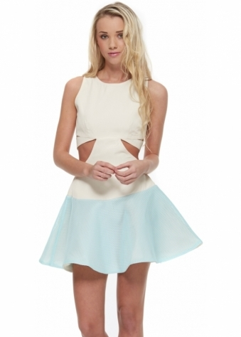 Airwaves Dress Sea Mist Mesh Skater With Cut Out Sides