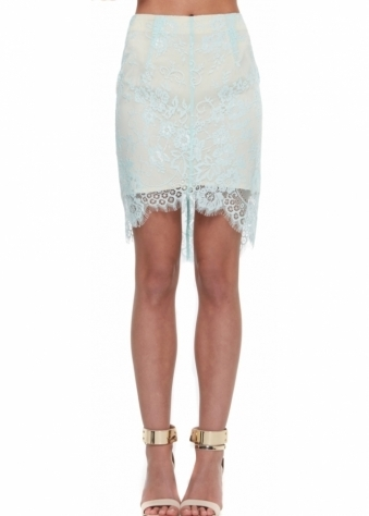 Wicked Ways Sea Mist Lace Mini Skirt