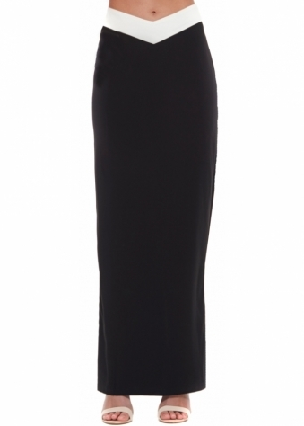 Out Of My Hands Skirt Black Maxi With V Detail