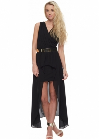 High Low Maxi Dress With Chiffon Drape & Lace Sides