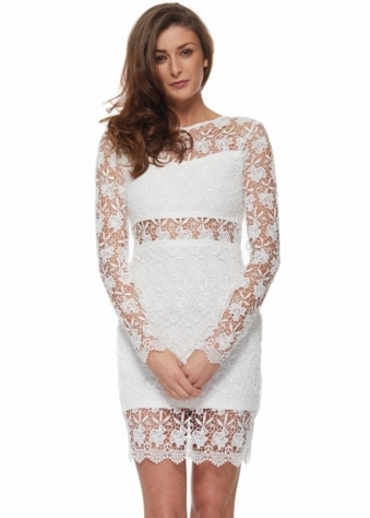 White Long Sleeved Crochet Bodycon Dress