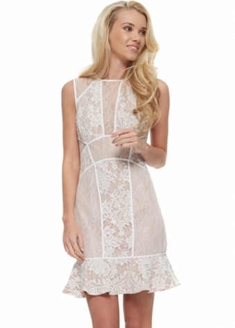 Loaded Dress In White Lace With Open Back