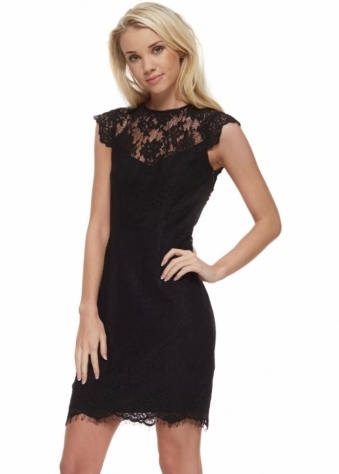 Jezebel Black Dress In Black Lace With Open Back