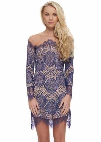 Grace Dress In Sapphire Lace & Mesh
