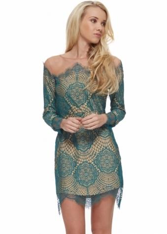 For Love & Lemons Grace Dress In Jade Lace & Mesh