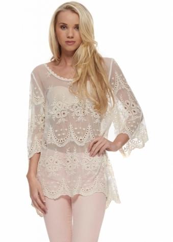 Designer Desirables Soft Beige Semi Sheer Crochet Lace Detail Top