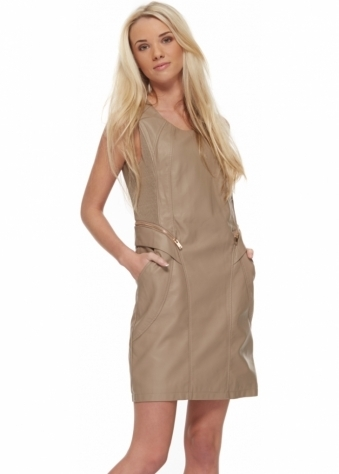 French Boutique Taupe Faux Leather Gold Zip Sleeveless Shift Dress
