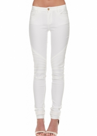 White Super Stretch Fit Ribbed Knee Skinny Jeans
