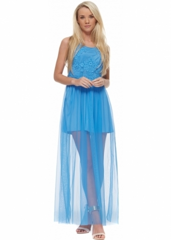 Designer Desirables Blue Semi Sheer Maxi Dress With Lace Bodice