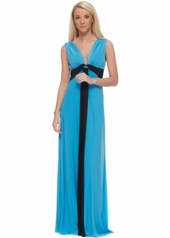 Designer Desirables Turquoise Draped Knot Black Insert Maxi Dress