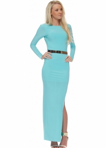 Turquoise Backless High Split Maxi Dress With Plaque Belt