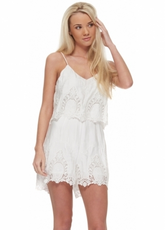 The Jetset Diaries Without Suspense Romper In White
