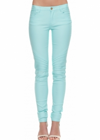 Mint Super Stretch Fit Ribbed Knee Skinny Jeans