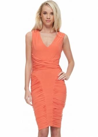 Goddess London Coral Silky Jersey Bodycon Midi Dress