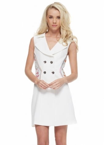 Designer Desirables White Coat Dress With Embroidered Peplum Sides
