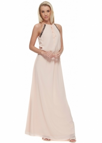 Nude Pink Maxi Dress With Beaded Neckline