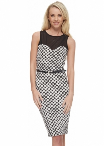 Monochrome Mesh Top Pencil Dress With Belt