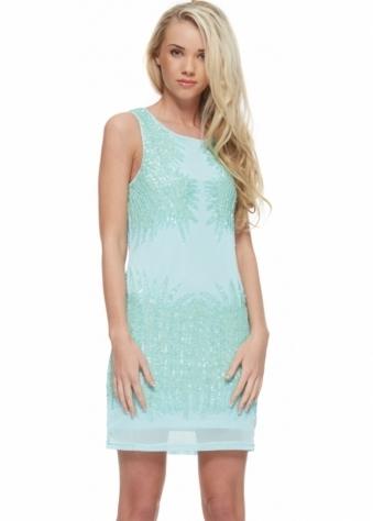 Turquoise Mesh Sequinned Beaded Sleeveless Mini Dress
