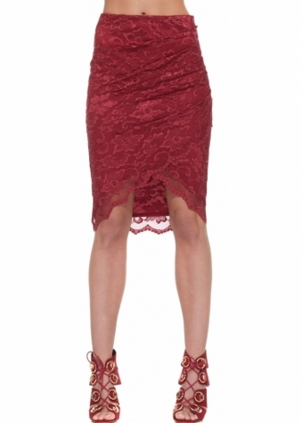 Asymmetric Wrap Front Skirt In Burgundy Lace