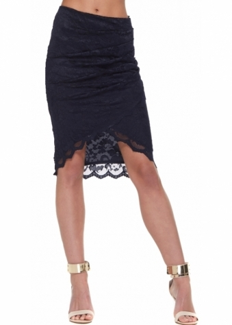 Goddess London Asymmetric Wrap Front Skirt In Navy Blue Lace