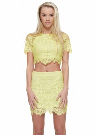 Florentine Yellow Lace Top & Skirt Set