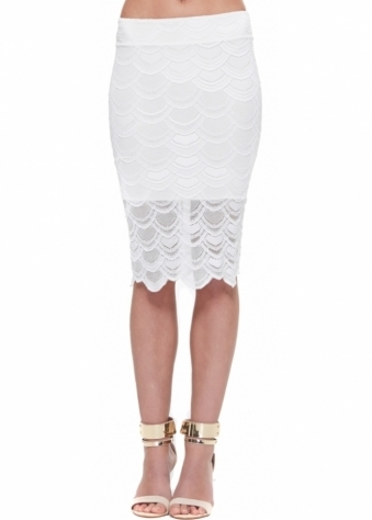 Nightcap Victorian Lace Pencil Skirt In Dove
