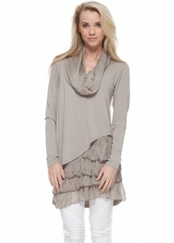 Taupe Cowl Neck Jumper With Frilled Hemline