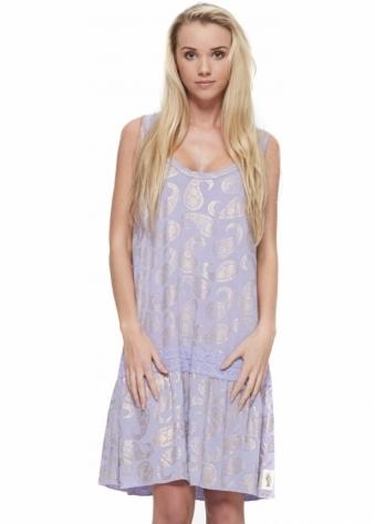 Dress Isadora Foil Paisley Flapper Lilac Dress