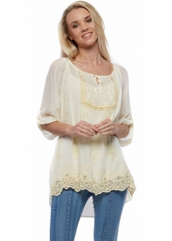 Lemon Silk Blouse Top With Sequinned Panel & Lace Hem