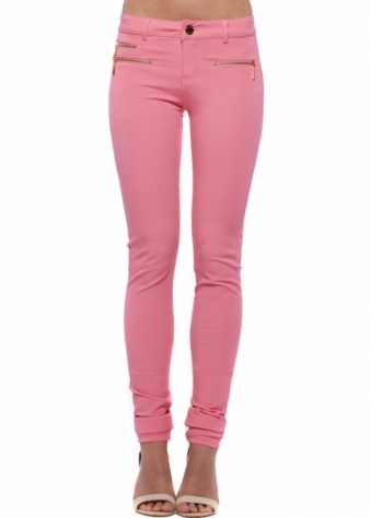 Bright Pink Super Stretchy Zip Detail Jeggings