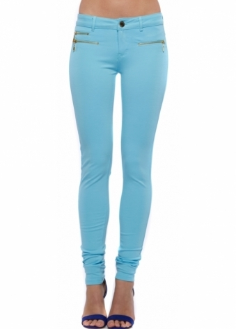 Blue Super Stretchy Zip Detail Jeggings