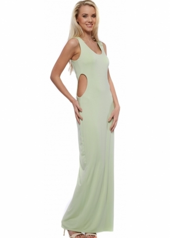 Pale Green Cut Out Jersey Maxi Dress