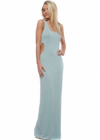 Designer Desirables Pale Aqua Cut Out Jersey Maxi Dress