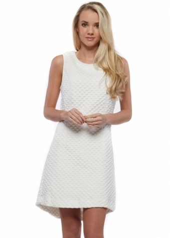 Designer Desirables White Quilted Structured Sleeveless Mini Shift Dress