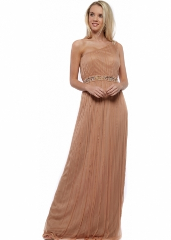 Jewelled One Shoulder Crinkled Chiffon Maxi Dress
