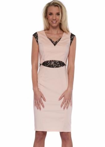 Blush Pink & Black Lace Detail Midi Pencil Dress
