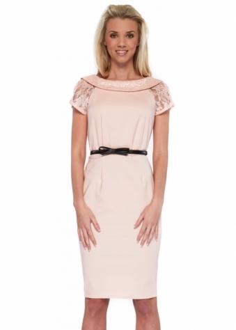 Paper Dolls Blush Pink Vintage V Back Pencil Dress