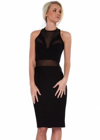 Darcey Black Mesh Halterneck Midi Dress