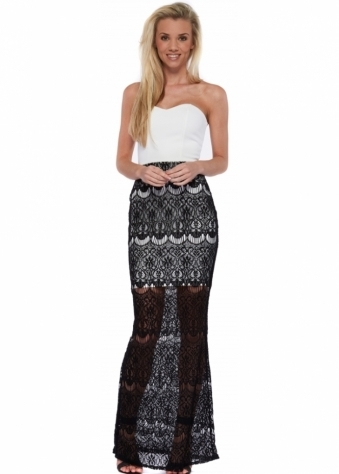 Ria Bandeau Black Crochet Lace Maxi Dress