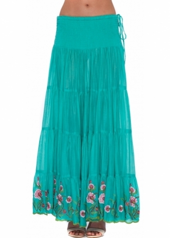 Antica Sartoria Emerald Green Maxi Skirt With Pink Floral Embroidery
