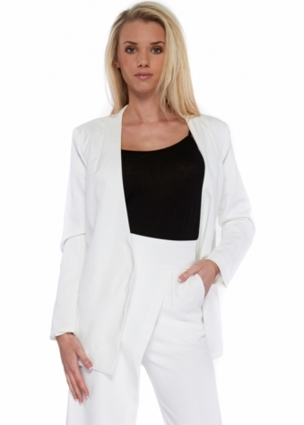 Lavish Alice White Collarless Tailored Open Front Blazer
