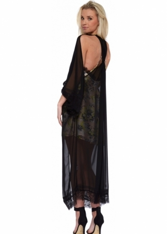 Double Rainbow Black Open Back Lace Trim Kimono