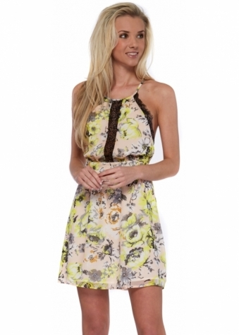 Morning Star Yellow Floral Chiffon Open Back Dress With Lace