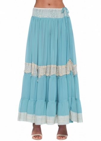 Antica Sartoria Full Chiffon Maxi Skirt With Lace Inserts