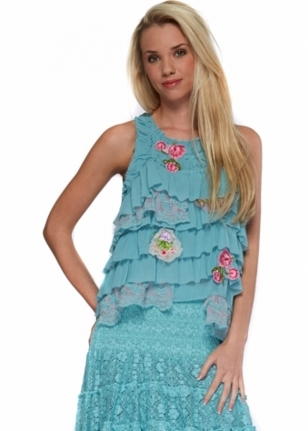 Antica Sartoria Layered Applique & Lace Frilled Turquoise Boho Top