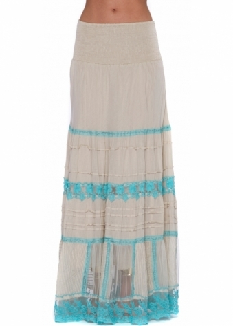 Ecru Cotton Maxi Skirt With Turquoise Lace Inserts