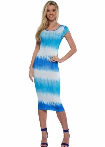 Blue Dip Dye Lace Back Midi Dress